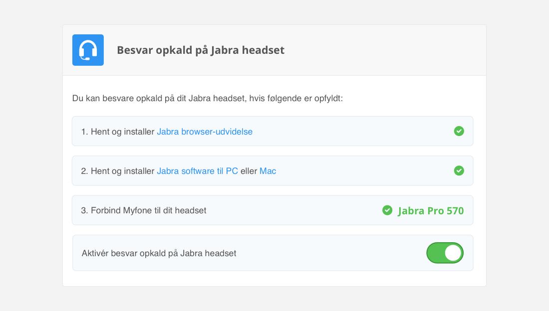 Tag softphone-kald direkte på Jabra headsets