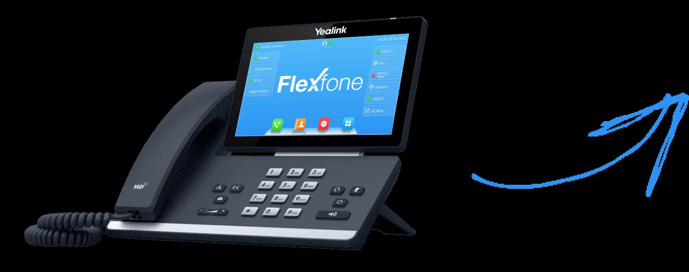 Flexfone fungerer fejlfrit på Yealink, Snom og LG