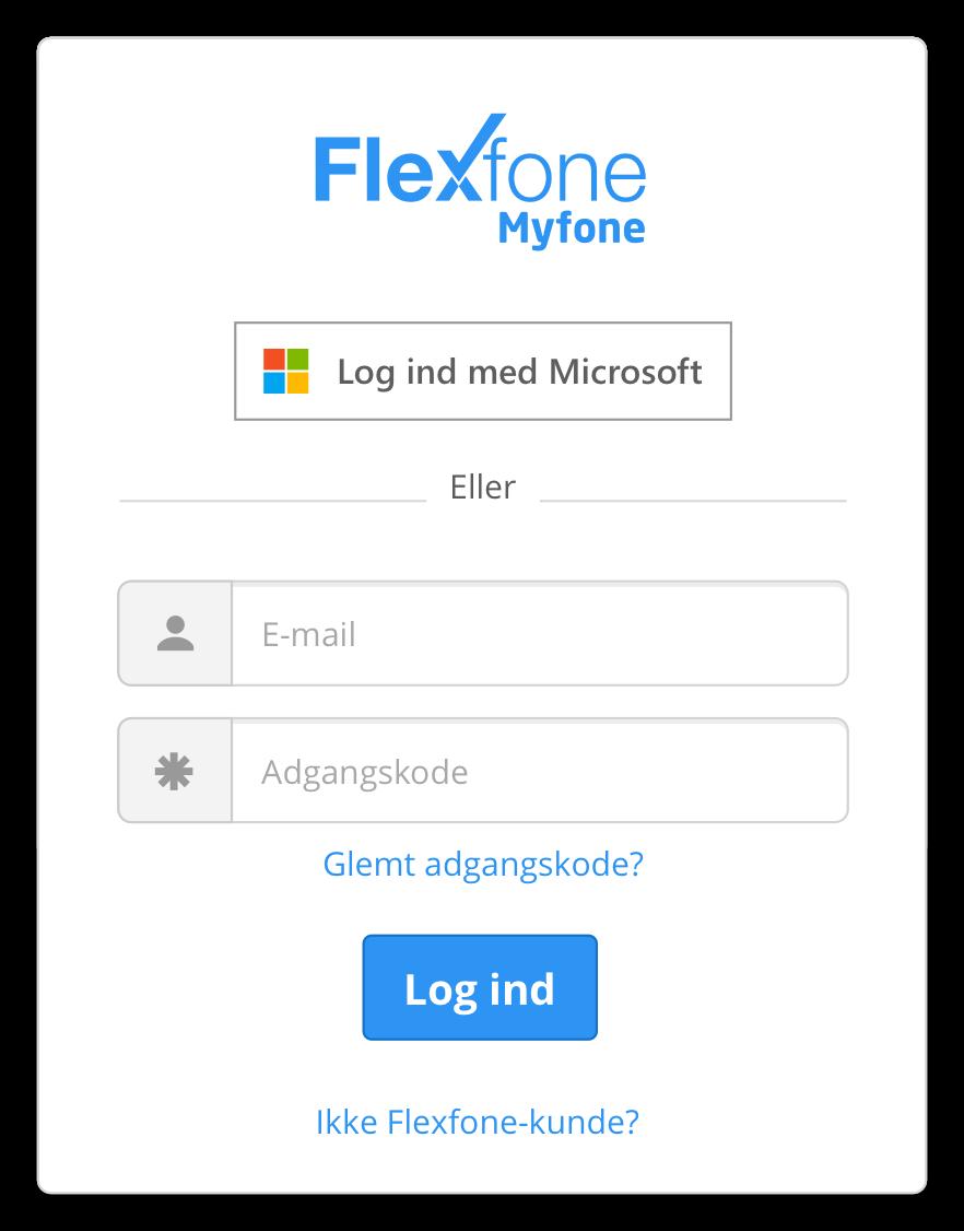 Benyt dit brugernavn eller Microsoft credentials til at logge på Myfone.dk