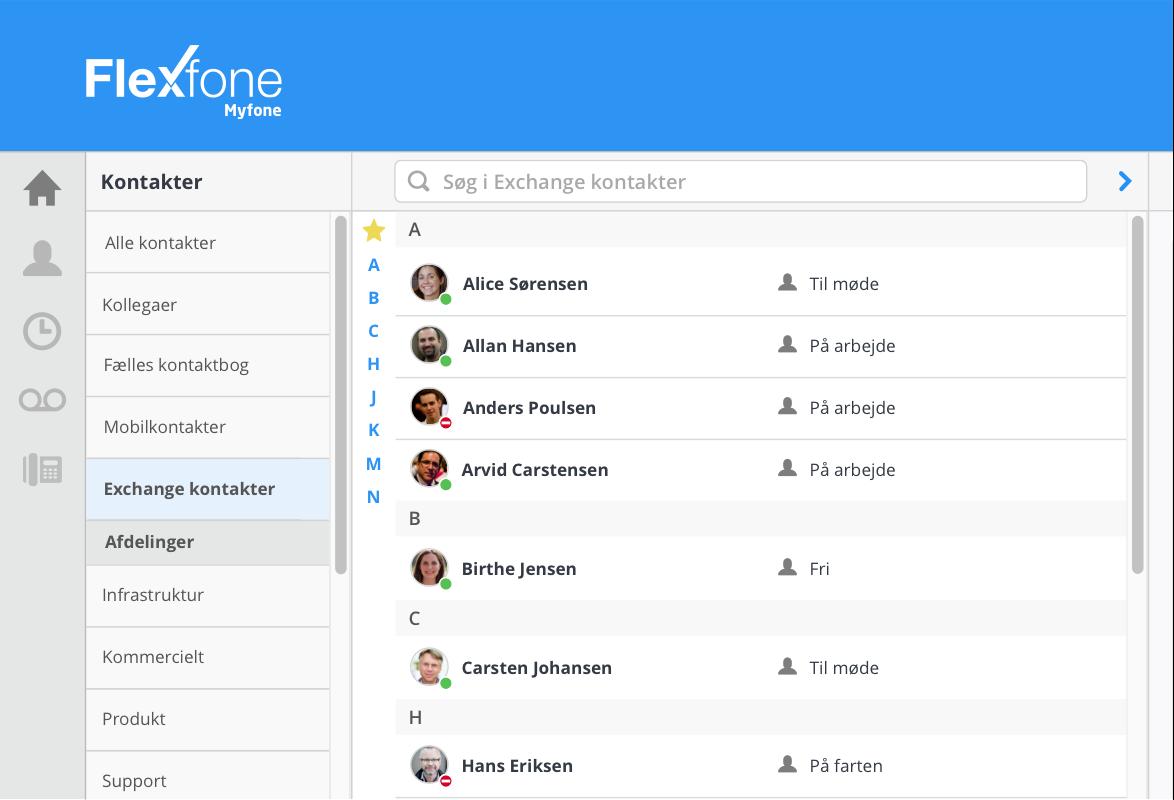 Myfone sorterer dine kontakter i forskellige kontaktbøger