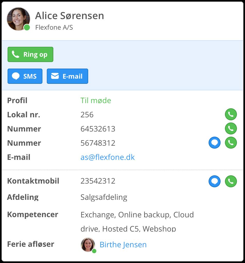 Se hvilken afdeling, ferieafløser eller kompetencer en kollega har på Myfone.dk