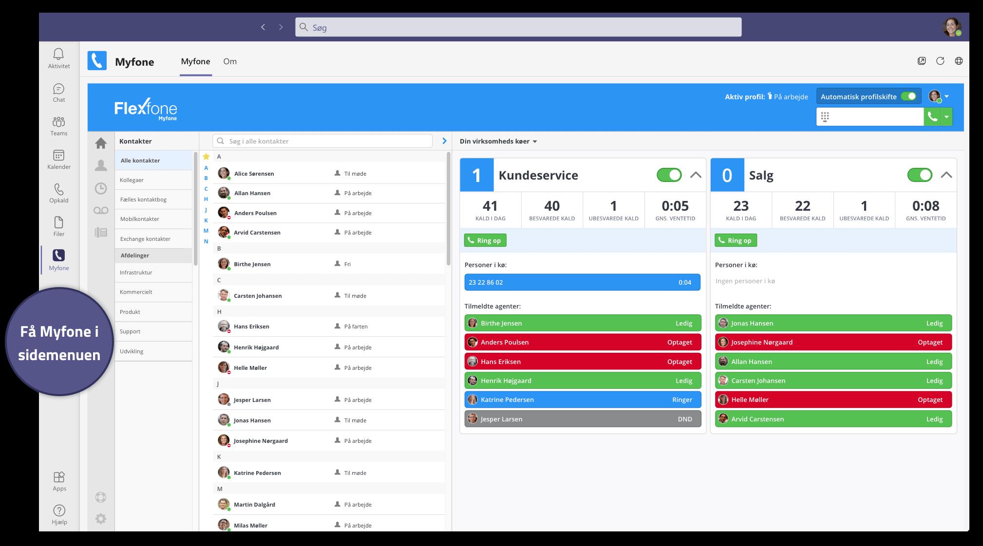 Flexfone har udviklet en app til Teams så I har al jeres telefoni inde i Teams. I kan derfor både foretage, modtage og omstille opkald.